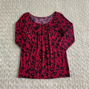 LOFT 3/4 sleeve animal print top